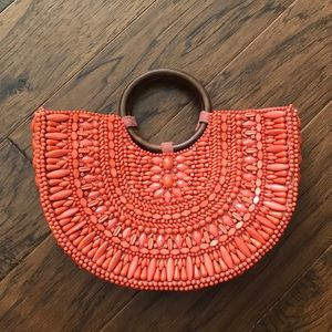 Anthropology Orange Beaded Beach Bag